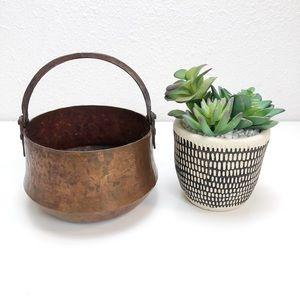"Antique Hammered Copper 6"" Pot Cauldron w/ Handle"